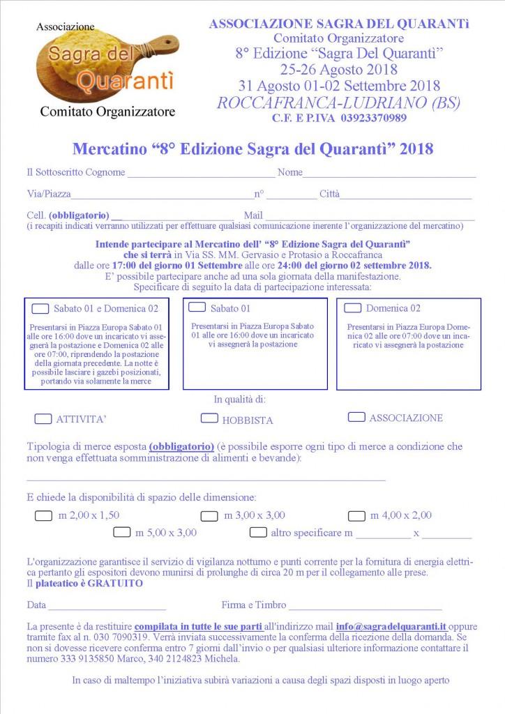 Modulo MERCATINO quarantì 2018